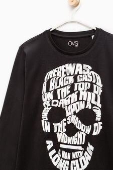 Cotton T-shirt with skull print and zip, Black, hi-res