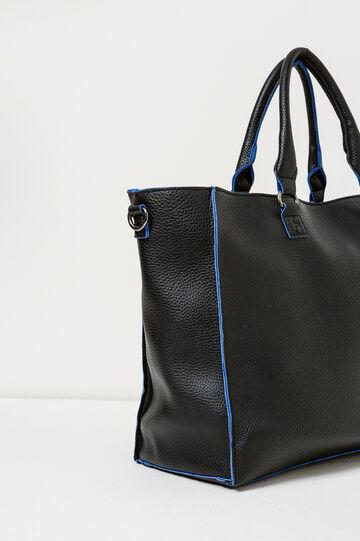 Handbag with contrasting edges, Black/Blue, hi-res