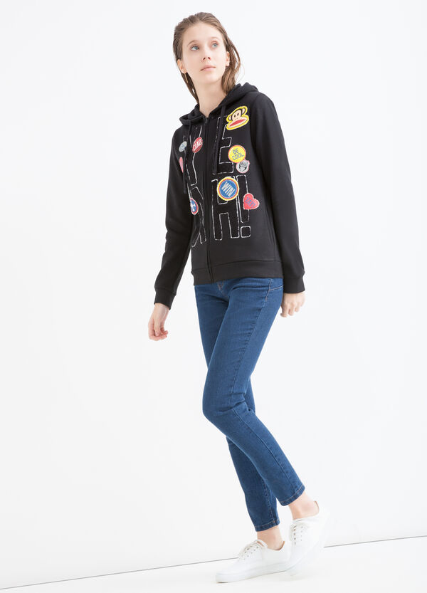 Cotton blend sweatshirt with patches and inserts. | OVS