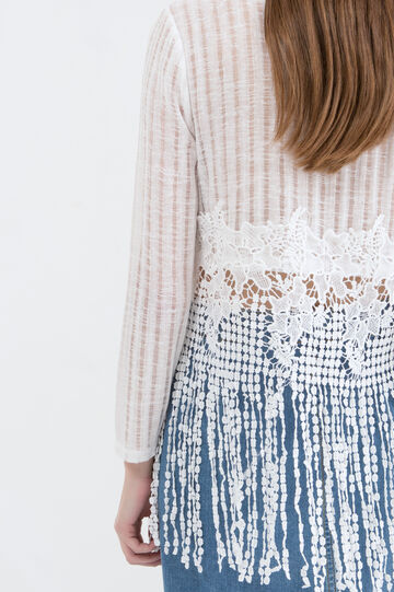 Openwork T-shirt with lace., Off-white, hi-res