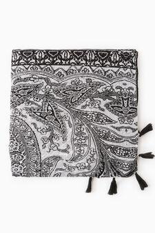 Pashmina with tassels, Black, hi-res