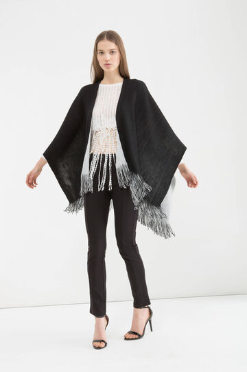 Two-colour cape with fringing, Black/White, hi-res