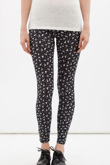 Stretch leggings with all-over print., Black, hi-res