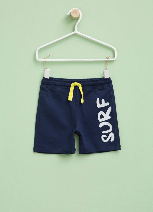 Cotton Bermuda shorts with lettering print | OVS
