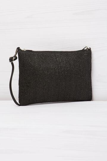 Solid colour, woven design shoulder bag, Black, hi-res
