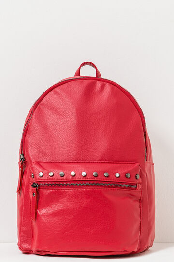 Textured-effect backpack with studs, Red, hi-res