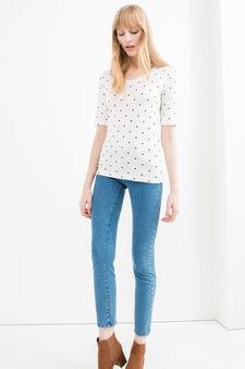 T-shirt puro cotone fantasia a stelle, Bianco, hi-res