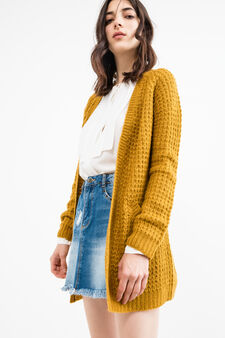 Long cardigan without buttons, Ochre Yellow, hi-res