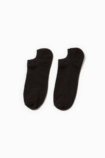 Solid colour stretch short socks, Black, hi-res