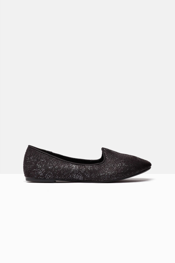Slip-on, pointed ballerina pumps with snakeskin pattern | OVS