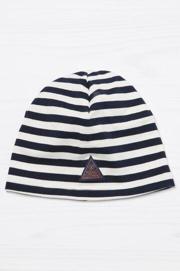 Patch striped beanie cap