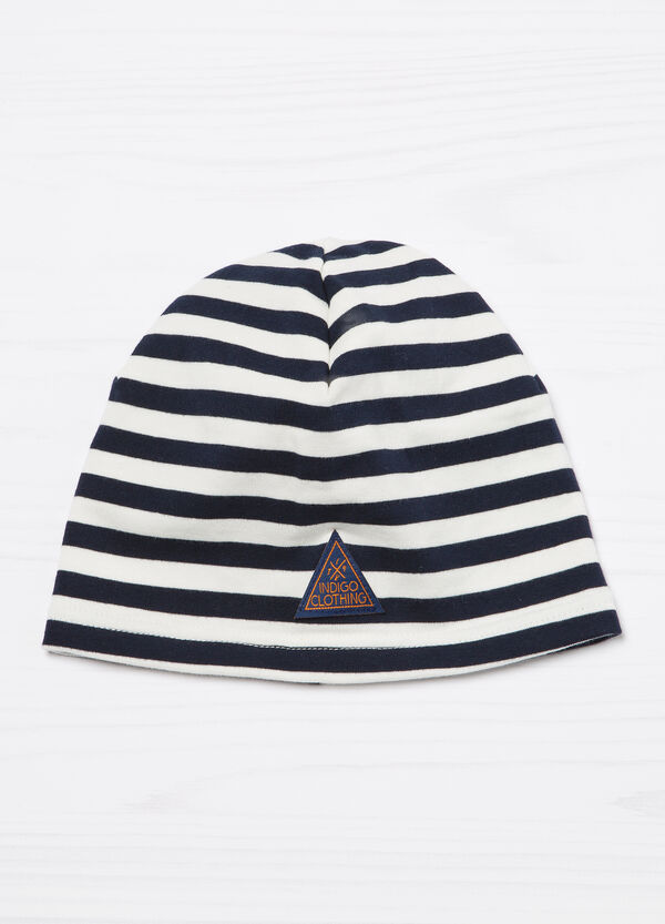 Patch striped beanie cap | OVS