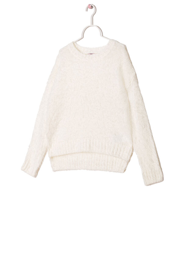 Wool blend pullover with shaggy insert | OVS