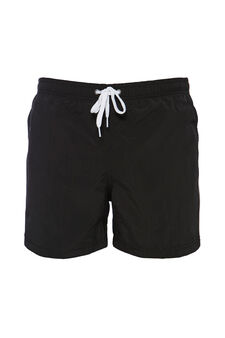 Solid colour swim boxer shorts with drawstring, Black, hi-res