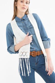 Knitted waistcoat with fringe, White, hi-res