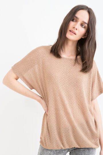 T-shirt with round neck and sequins, Tobacco Brown, hi-res