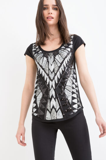 Printed cotton and modal T-shirt with sequins
