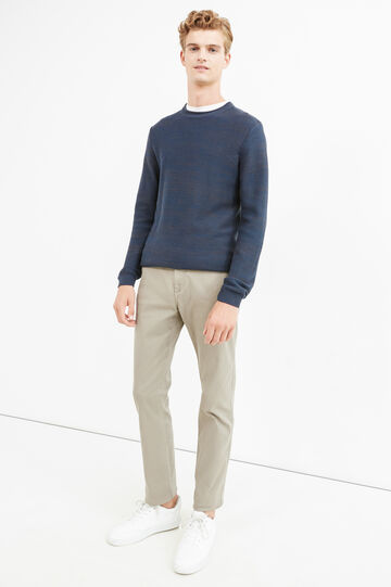 Solid colour stretch chino trousers, Dove Grey, hi-res