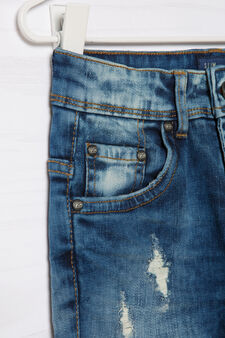 Worn-effect Blue Black jeans, Denim Blue, hi-res
