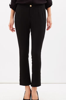High-waisted stretch trousers, Black, hi-res