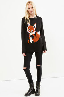 Solid colour pullover with fox embroidery, Black, hi-res