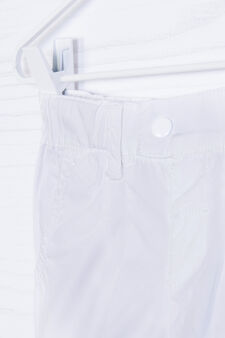 100% cotton pleated shorts, White, hi-res