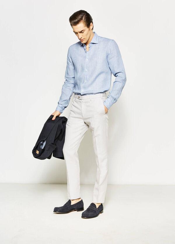 Camisa Rumford en lino 100% de color liso | OVS