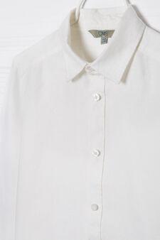 Camicia in puro lino, Bianco, hi-res