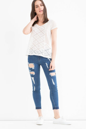 100% cotton openwork T-shirt, Cream, hi-res