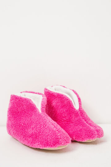 Solid colour faux fur slippers, Fuchsia, hi-res