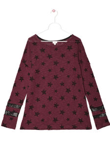 T-shirt with star print, Claret Red, hi-res