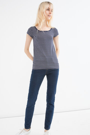 T-shirt viscosa stretch a righe, Blu navy, hi-res