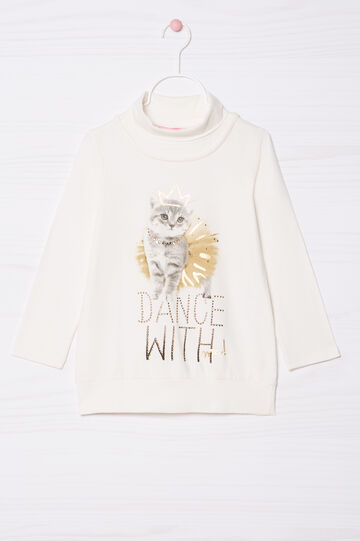 T-shirt cotone stretch con strass, Bianco latte, hi-res