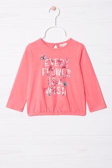 T-shirt puro cotone con stampa , Rosa corallo, hi-res