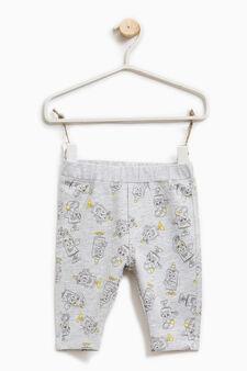 Pantaloni puro cotone fantasia, Grigio melange, hi-res