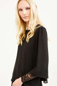 Stretch blouse with lace sleeves, Gunmetal, hi-res