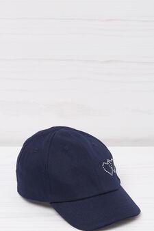Cotton and diamanté baseball cap, Navy Blue, hi-res