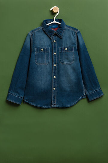 Denim shirt with faded effect, Denim, hi-res