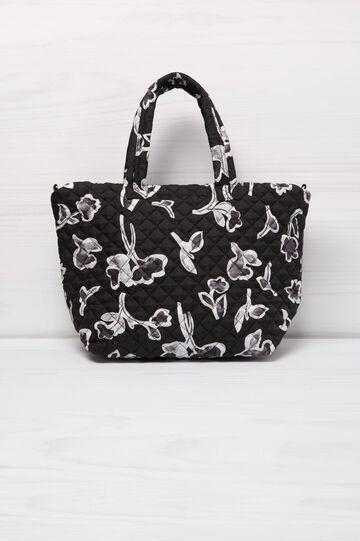 Floral pattern shoulder bag, Black/White, hi-res