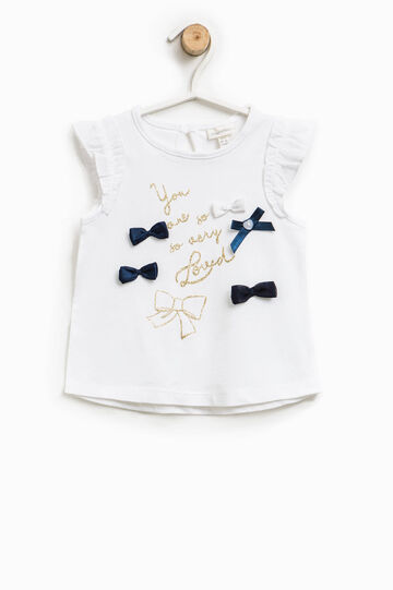 T-shirt with print and bows