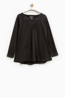 Smart Basic T-shirt with lace neck, Black, hi-res