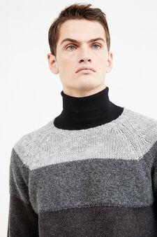 Pullover misto lana stretch degradé, Grigio scuro, hi-res