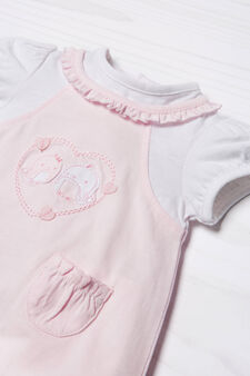 Embroidered onesie in 100% cotton, White/Pink, hi-res
