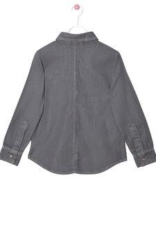 Diamanté denim shirt, Grey, hi-res