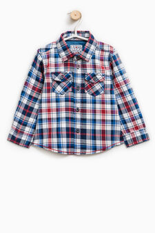 Check shirt with bluff collar, Light Blue, hi-res