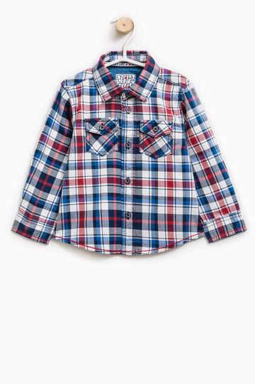 Check shirt with bluff collar, Light Blue, hi-res