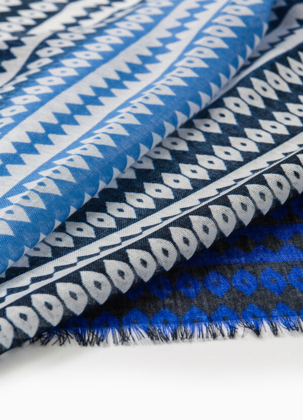 Patterned pashmina with fringed edges | OVS