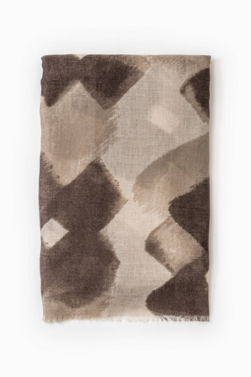 Patterned twill scarf with fringed trim, Brown, hi-res