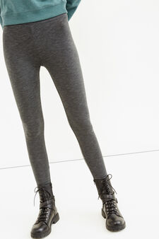 Solid colour stretch cotton leggings, Grey Marl, hi-res