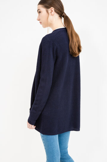 Cotton knitted cardigan with pockets, Navy Blue, hi-res